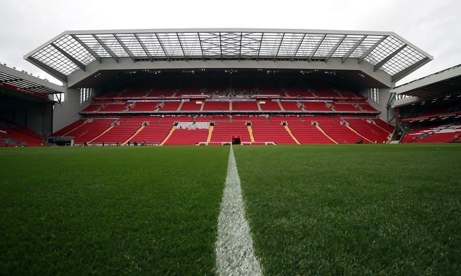 den nye tribune på anfield i liverpool